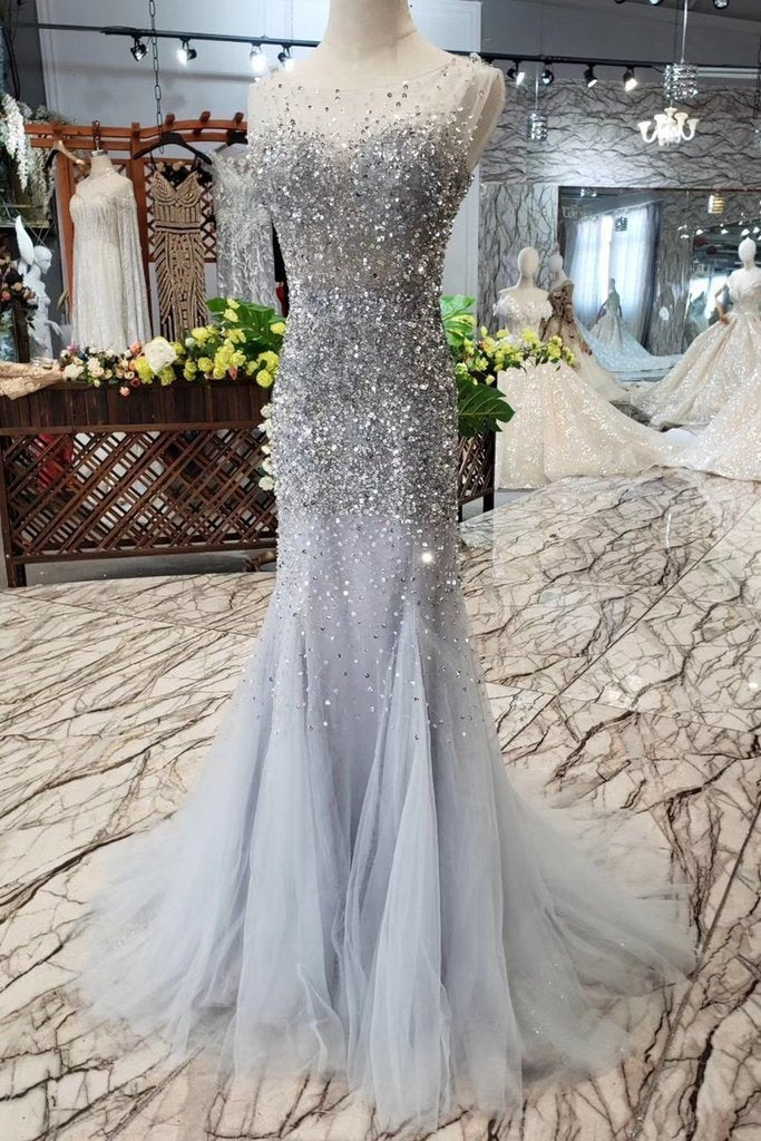 Unique Blue Sequins Bodice Prom Dresses Tulle Mermaid Sweep Train Evening Dresses