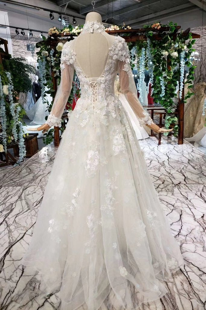 Princess Tulle High Neck Long Sleeve Handmade Flowers Lace up Prom Dresses