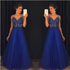 Sparkly V Neck Prom Dress Sexy Backless Evening Dress Tulle Long Prom Gown