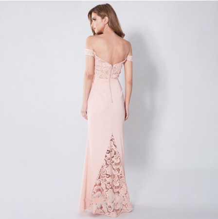 Sexy Pink Lace Off the Shoulder Pink Graduation Dress Formal Dress Long Evening Dresses