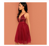Spaghetti Straps V Neck Burgundy Tulle Homecoming Dresses with Sequins Prom Dresses