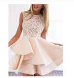 Beige Sheer Crochet Lace Panel Sleeveless Layered Skater Dress Cap Sleeve Prom Dresses