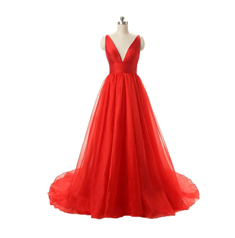 Red V-neck Backless Long Tulle Prom Dresses Evening Dresses