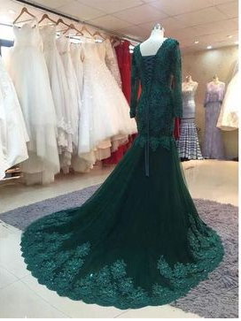 Newest Appliques Mermaid Tulle Prom Dresses Prom Dresses