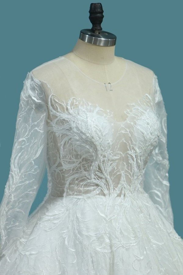 A Line Scoop Long Sleeves Wedding Dresses Tulle With Applique P7ZP7Y6G