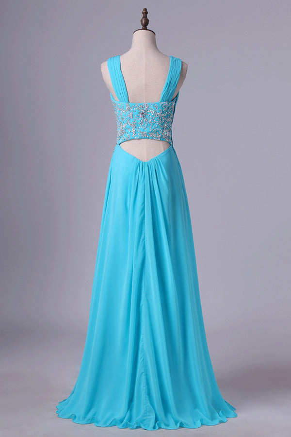 Straps A Line Prom Dresses Chiffon With Applique & Ruffles P2GQHSPH