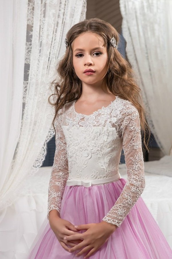 Scoop Flower Girl Dresses Long Sleeves Tulle With Applique And PN3SD1ZM