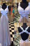 V-neck Applique Backless Long Chiffon Criss Cross A-Line Sleeveless Prom Dresses