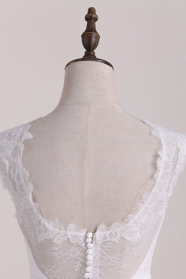 A Line Wedding Dresses Scoop Lace With PJLMZMRC