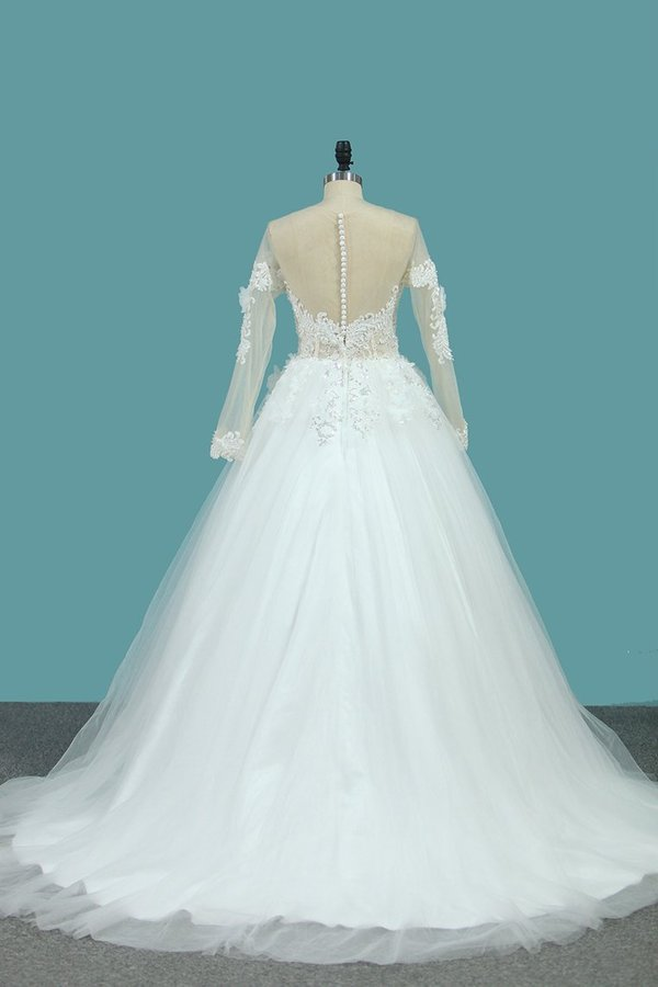 A Line Long Sleeves Tulle Scoop Wedding Dresses With Applique And Beads PEDR1ANE
