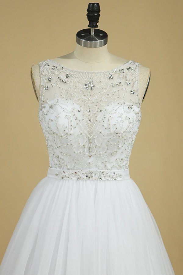 2020 A Line Bateau Open Back Beaded Bodice Tulle Court Train Wedding PP26E27N