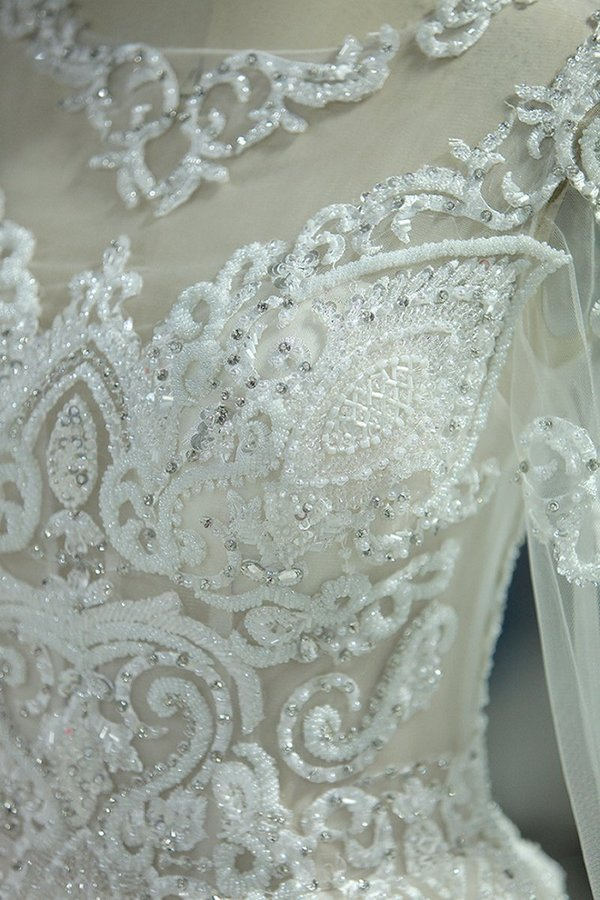Gorgeous Wedding Dresses Scoop Tulle With Beadings Zipper Back P83BBHBS