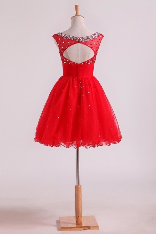 2020 Bateau A Line Short/Mini Homecoming Dresses With Beads & Ruffles Open PYBYZX2J