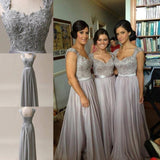 Lace Grey Long Chiffon Sexy Sweetheart Cap Sleeve A-Line Lace up Appliques Bridesmaid Dresses