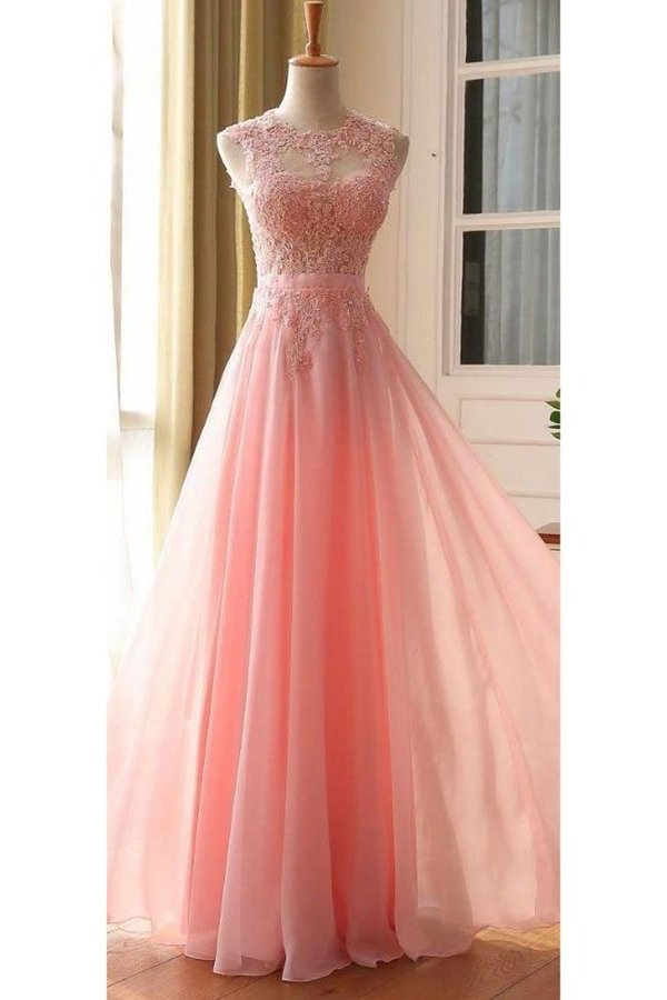 A Line Scoop With Applique Prom Dresses PRD6YXY8