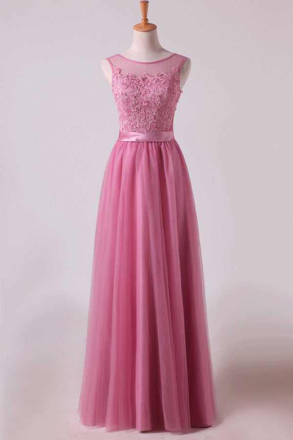 Bridesmaid Dresses Scoop A Line Floor Length With Applique PZL9CBPN