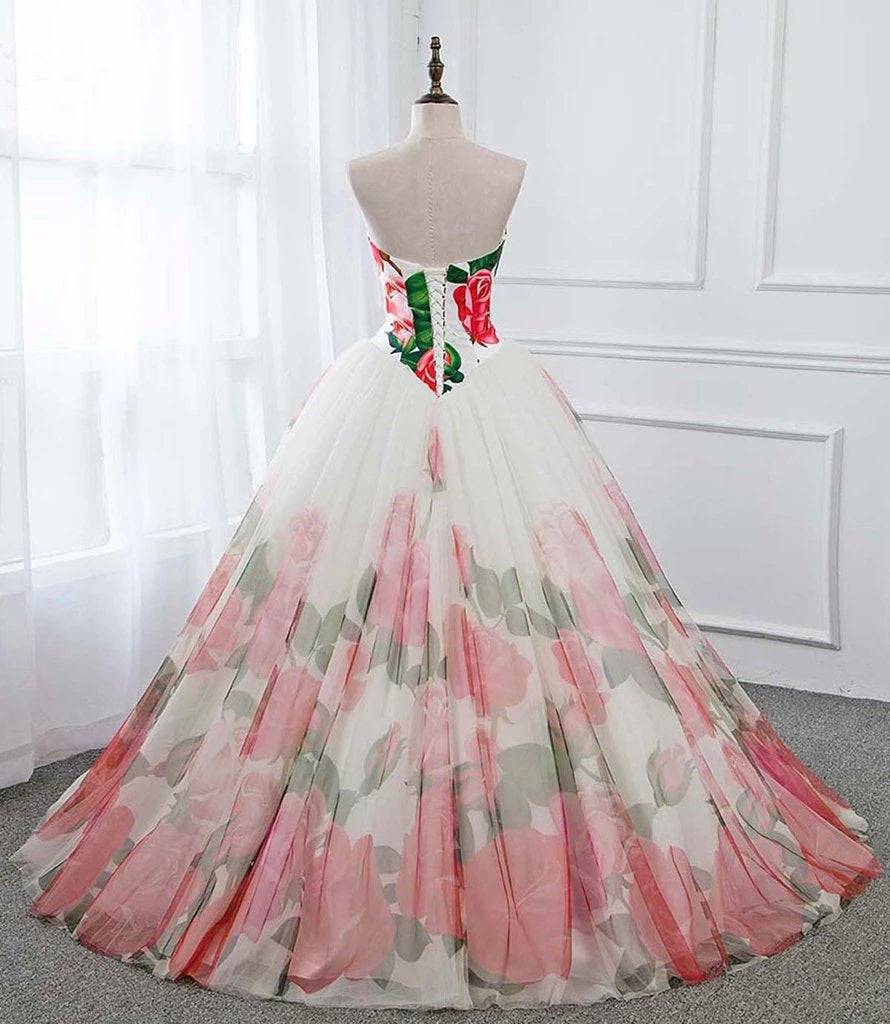 Ball Gown Floral Satin Long Tulle Evening Dresses with Lace up, Sweetheart Red Prom Dresses STG15057