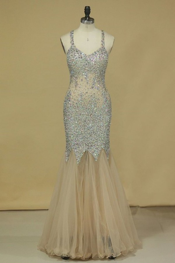 Halter Prom Dresses Mermaid Tulle With Beading Floor P4JZSR5X
