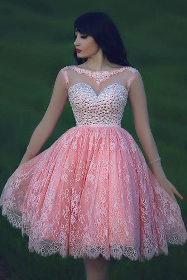 A Line Scoop Lace With Beading Homecoming Dresses 3/4 PYNKDAH5