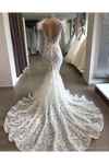 Luxury Lace Mermaid Wedding Dress With Train Sexy Open Back Pearls Wedding STGPE5AS8YA