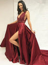 Simple A-Line Deep V-Neck Sweep Train Split Burgundy Satin Lace Prom Dresses