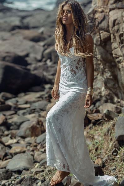 Long Simple A-Line Sheath Spaghetti Straps Backless Sweetheart Lace Beach Wedding Dresses