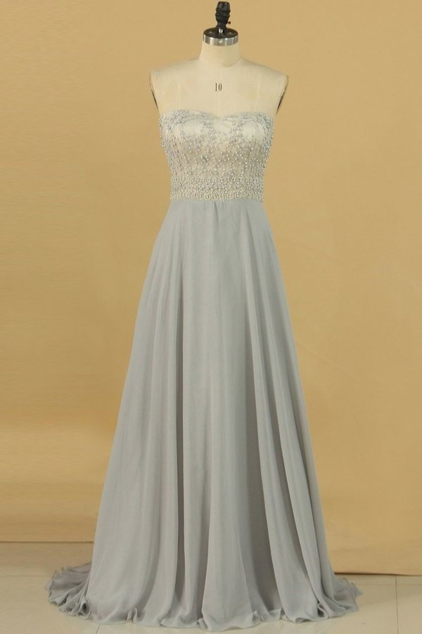 2020 A Line Sweetheart Chiffon With Beading Prom PNGGFLXT