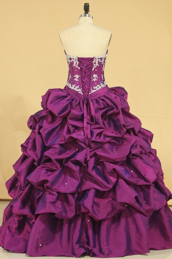 Ball Gown Sweetheart Floor Length Quinceanera Dresses With Ruffle And PDA15RRC