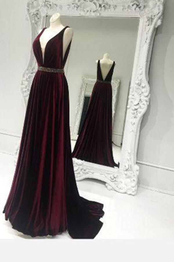 V-Neck Long Charming Evening Dress Prom Gowns Formal Women Dress Prom Dresses