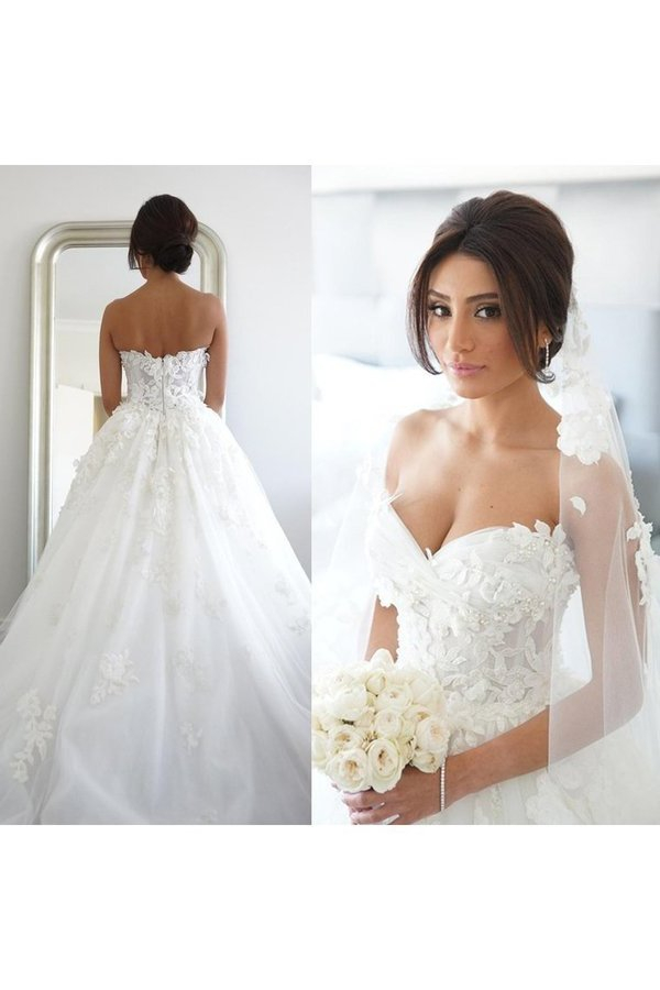 2020 A Line Sweetheart Tulle Wedding Dresses With Applique PZQYYHJZ