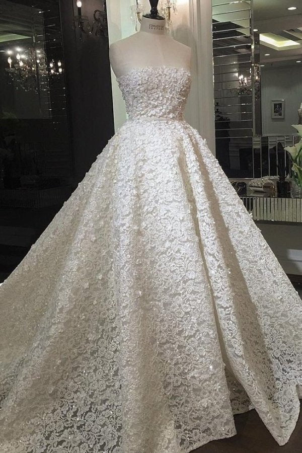 Strapless Wedding Dresses Lace A PFLZ9PAB