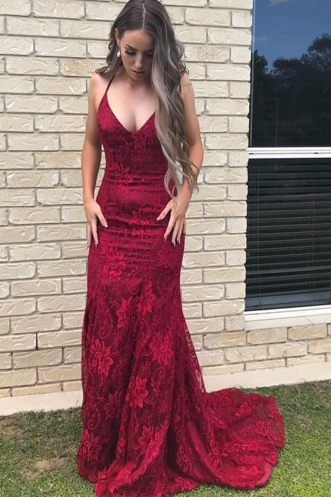 Elegant Straps V Neck Lace Mermaid Long Evening Dresses Prom STGPS1EG38N