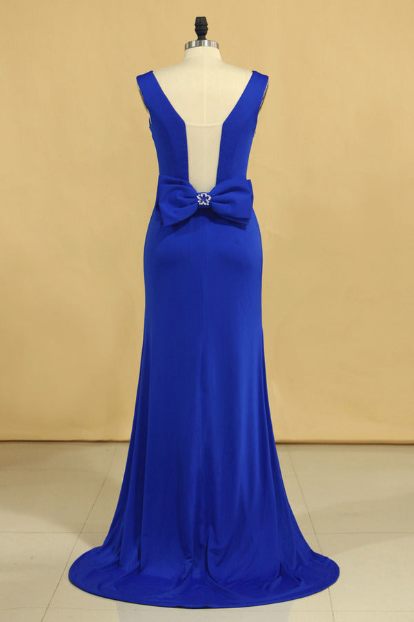 2020 Plus Size Prom Dresses Square Neckline Sweep Train With Bow-Knot Dark Royal PN328PXA