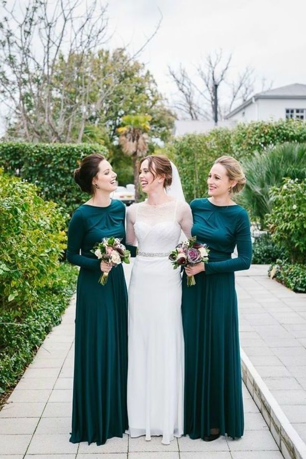 Bridesmaid Dresses Scoop Long Sleeves Spandex PMAKL4HY
