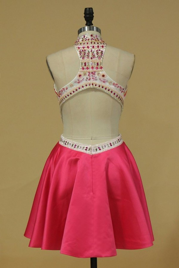 Homecoming Dresses A Line High Neck Beaded Bodice Short/Mini PPQJGFFR