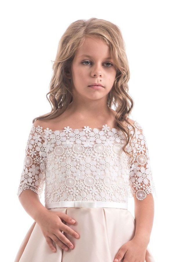 2020 Boat Neck Flower Girl Dresses A Line Mid-Length Sleeves Satin P7GZBXQ4
