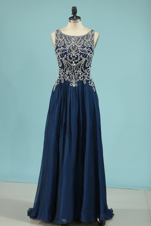 A Line Prom Dresses Scoop Chiffon With Beading P1GHLJLD