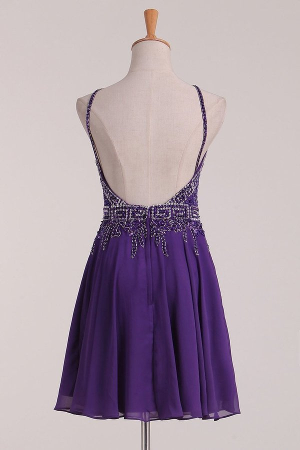 A Line Spaghetti Straps With Beading Homecoming Dresses Chiffon PASB5EQN