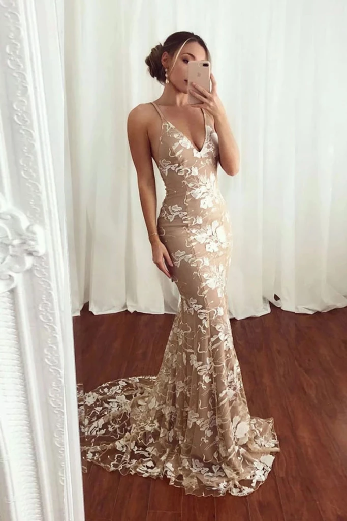 Sexy Mermaid V Neck Lace Appliques Long Prom Dresses Spaghetti Straps Formal STGPJE6FLPT
