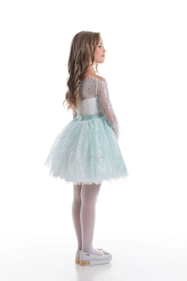 Flower Girl Dresses A Line Boat Neck Long Sleeves PLYZ7179