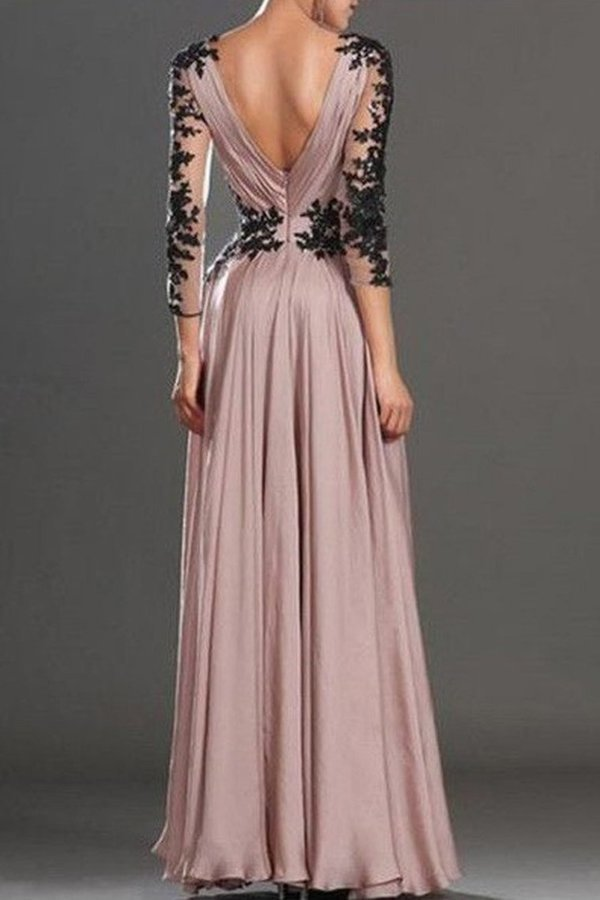A-Line/Princess Long Sleeves V-Neck Chiffon Applique Floor-Length Dresses P9627QNS
