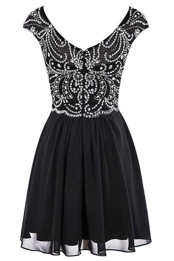2020 Chiffon Homecoming Dresses Scoop Beaded Bodice Short/Mini PBPP66EX