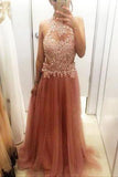 Tulle A-Line Beading High Neck Sleeveless Charming Real Made Long Evening Dresses