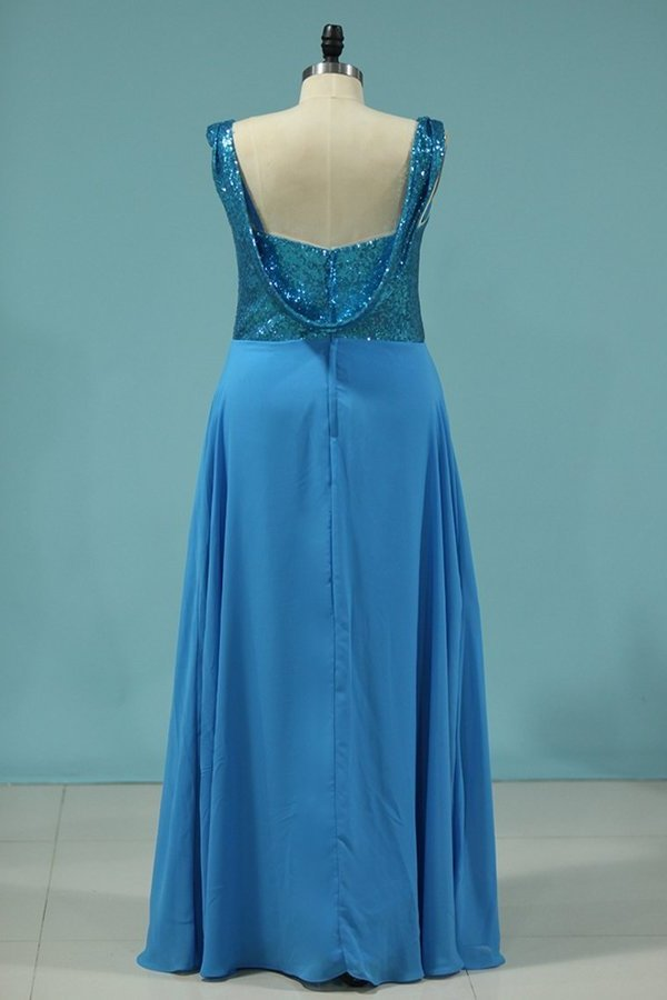 Bridesmaid Dresses Straps Sequined Bodice A Line Chiffon PHRP88KJ