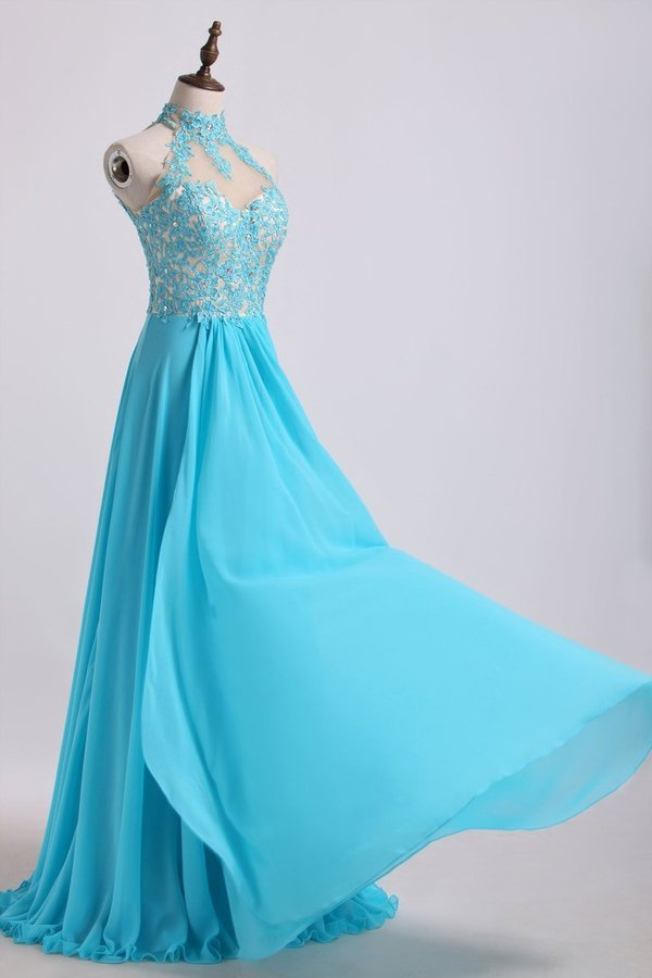High Neck A Line Prom Dresses With Applique&Beads PLCHEZX7