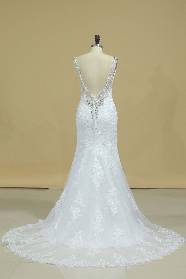 Spaghetti Straps Wedding Dresses Mermaid Open Back With Applique And PTJM5FSE