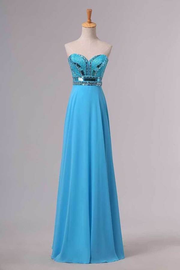 2020 Blue Prom Dresses A Line Sweetheart Floor Length Chiffon Ship Today Under P8YQ2BEF