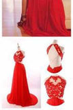 Red Backless Sexy Lace Unique Halter A-Line Slit Criss Cross Sleeveless Prom Dresses
