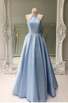 Open Back Floor Length Prom Dress With Pearls A Line Sleeveless Formal STGP74AHYZK