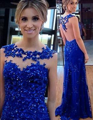 Royal Blue Sexy Prom Dresses Long Evening Dresses Backless Prom Dresses On Sale